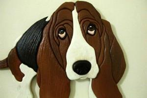 Detail Image for art 'HAROLD' BASSET HOUND.. ORIGINAL PAINTED INTARSIA ART