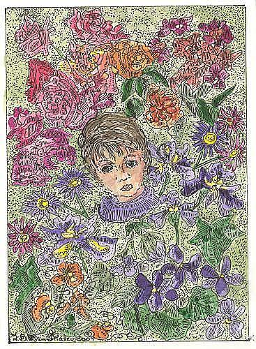 Art: Tiny Hidden Face in a Flower Shower by Artist Theodora Demetriades