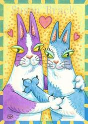 Art: HNF CANT KEEP THEIR PAWS OFF EACH OTHER by Artist Susan Brack