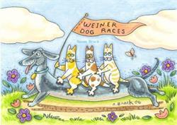 Art: HISS N' FITZ WEINER DOG RACES by Susan Brack