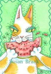 Art: Hiss N' Fitz - WATERMELON MAKES YOUR WHISKERS STICKY by Susan Brack