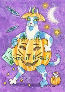 Art: Hiss N' Fitz - HALLOWS EVE PUMPKIN CAT by Artist Susan Brack