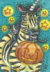 Art: BLACK CAT AND HALLOWEEN STRIPES by Artist Susan Brack