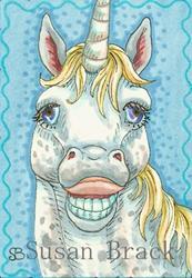 Art: LAUGHING UNICORN by Artist Susan Brack