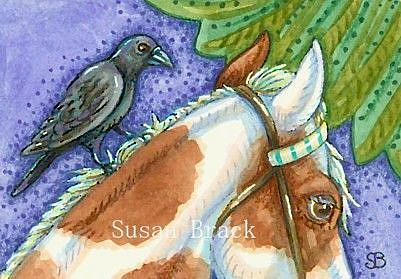 Art: RAVEN AND PINTO by Artist Susan Brack