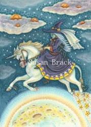 Art: WITCH OVER A PUMPKIN MOON by Artist Susan Brack