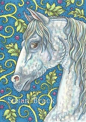 Art: DAPPLE STALLION ACEO by Artist Susan Brack