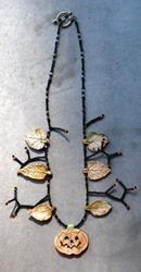 Art: pumpkin Fall Necklace by Artist Deborah Sprague