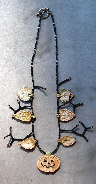 Art: pumpkin Fall Necklace by Artist Deborah Sprague