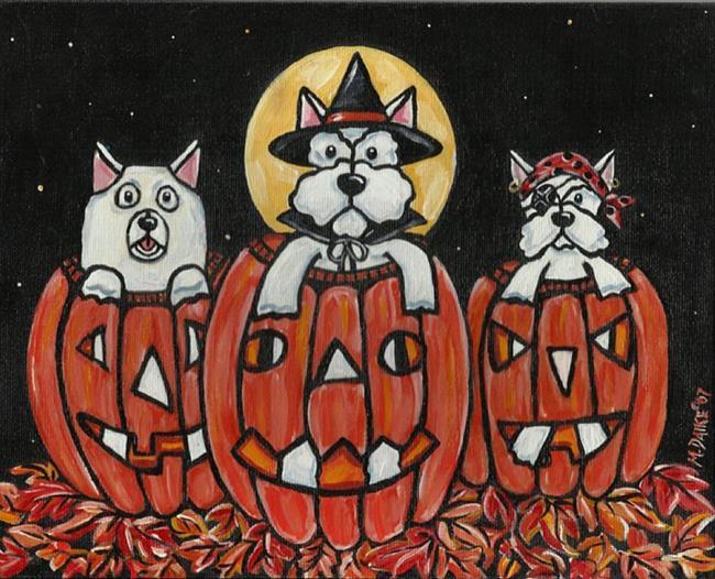 Art: Westie Pumpkin Pups by Artist Melinda Dalke