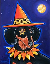 Art: Midnight Howl-O-Weiner Witch by Artist Melinda Dalke