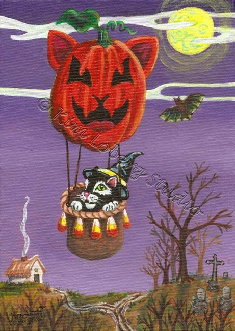 Art: The Witch's Black Cat on a Cat-O-Lantern Balloon Ride by Artist Kim Loberg