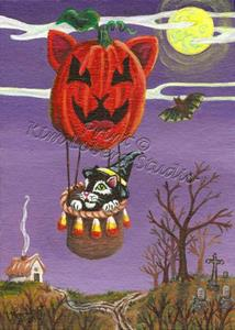 Detail Image for art The Witch's Black Cat on a Cat-O-Lantern Balloon Ride