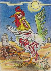 Art: Zombie Chicken Little by Artist Kim Loberg