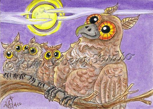 Art: Mama Owl and Her Little Hooters - SOLD by Artist Kim Loberg