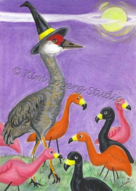 Art: Sanguine the Witchy Sandhills Crane at the Flamingo's Garden Party by Artist Kim Loberg