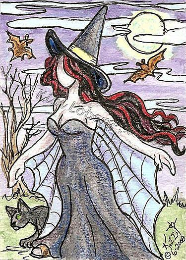 Art: Witchy Woman - SOLD by Artist Kim Loberg