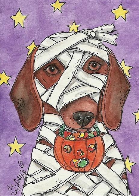 Art: Doxie Mummy by Artist Melinda Dalke