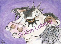 Art: Genetics Gone Wild - Goth Cow - SOLD by Artist Kim Loberg