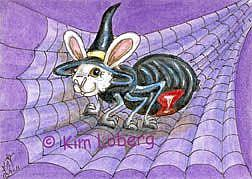 Art: Be-Witching Spider Bunny SOLD by Artist Kim Loberg