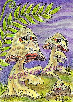 Art: March of the Zombie Mushrooms - SOLD by Artist Kim Loberg