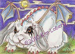 Art: Goth Demon Bunny SOLD by Artist Kim Loberg