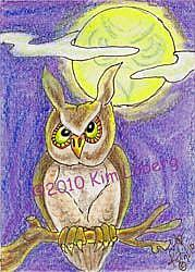 Art: Out on a Limb - Owl Moon - SOLD by Artist Kim Loberg