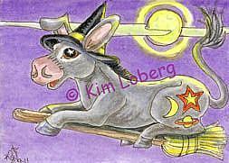 Art: Joy Riding - Matilda Donkey and the Witch's Flying Broom by Artist Kim Loberg