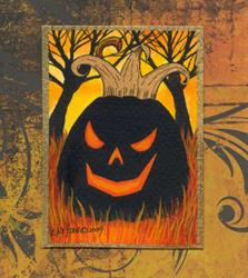 Art: Evil King Jack Halloween ACEO by Artist Lisa M. Nelson