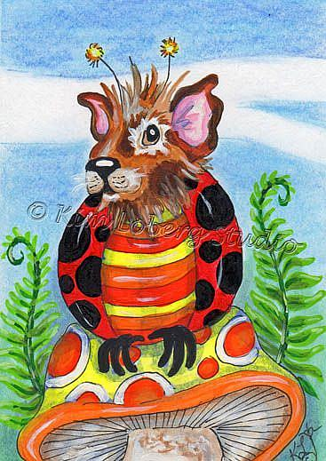 Art: Guinea Pig Lady Bug by Artist Kim Loberg