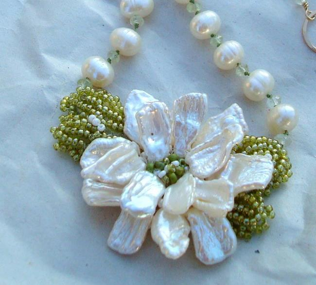 Art: Hand Beaded Flower fresh water pearls by Artist pamela jean lacasse