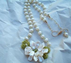 Detail Image for art Hand Beaded Flower fresh water pearls