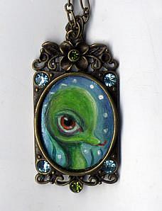 Art: Sea Monster necklace by Artist Vicky Knowles