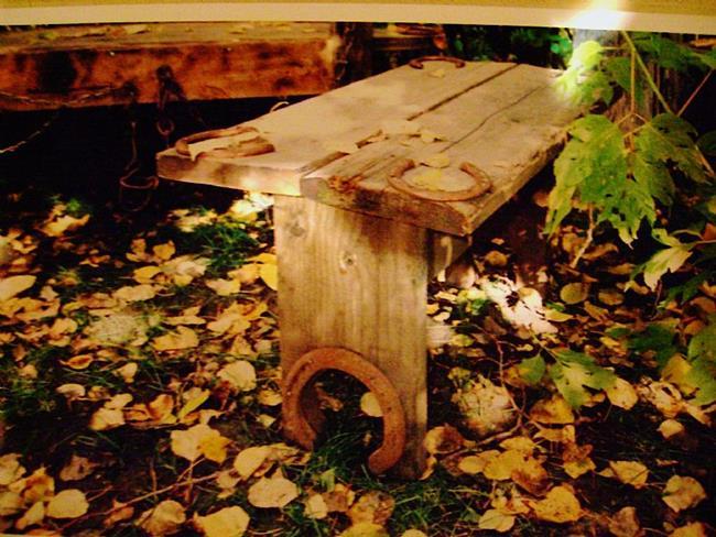 Art: Rustic Wood Bench by Artist CJs Soul Studio