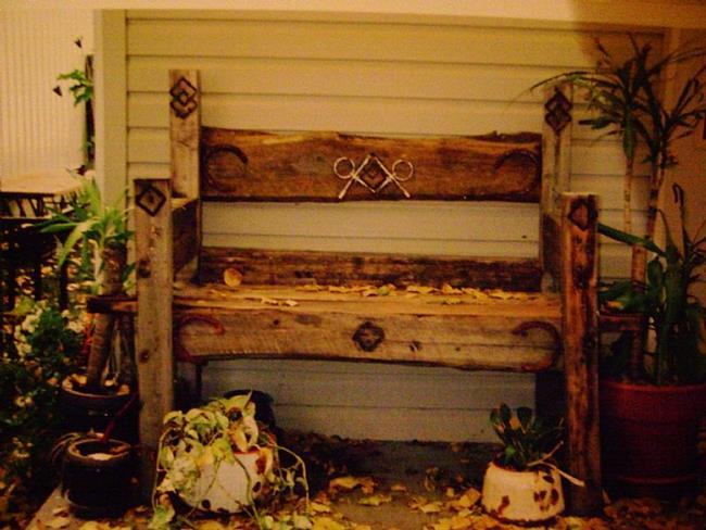 Art: Rustic Wood Handcrafted Bench by Artist CJs Soul Studio