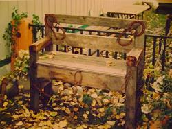 Art: Rystic Handcrafted Wood Bench by Artist The Bridges Gallery