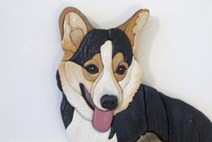 Detail Image for art Happy Corgi  Original Painted Intarsia Art