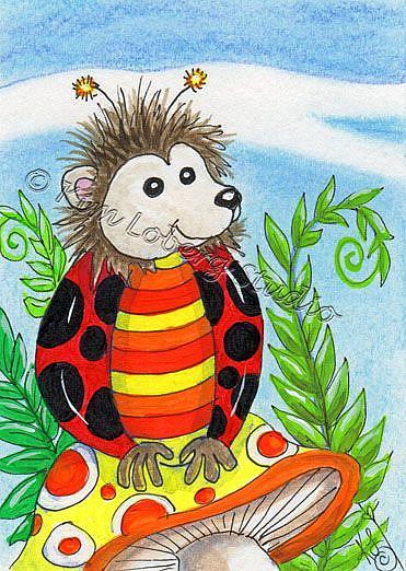 Art: Hedge  Hog Lady Bug by Artist Kim Loberg