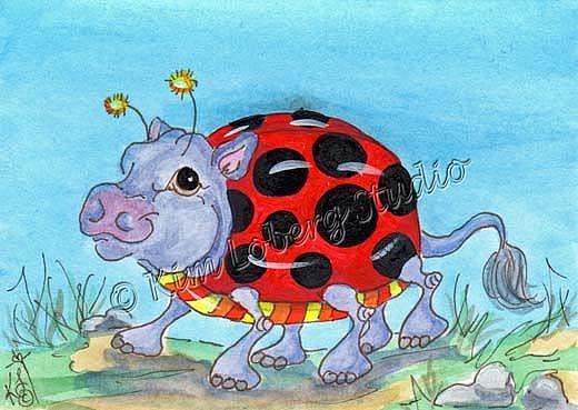 Art: Walk About Lady Bug Hippo by Artist Kim Loberg