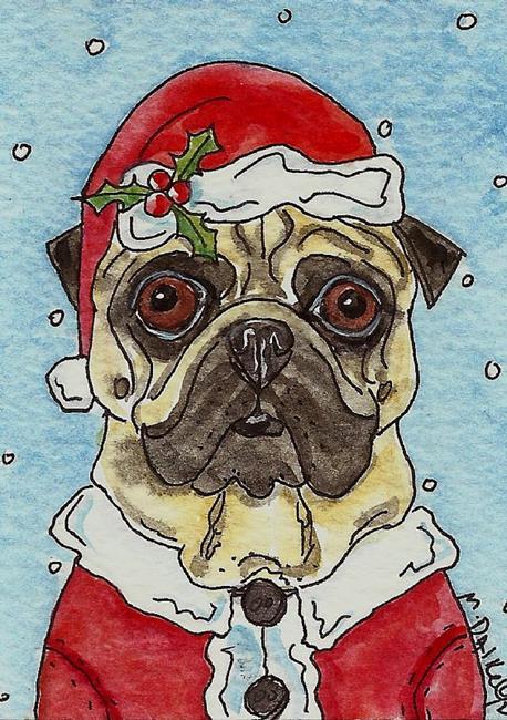 Art: Santa Pug by Artist Melinda Dalke