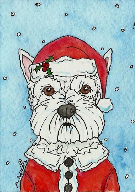 Art: Santa Westie by Artist Melinda Dalke