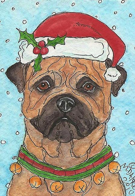Art: Santa Mastiff by Artist Melinda Dalke