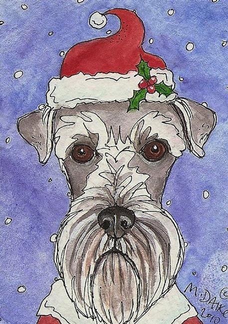 Art: Santa Schnauzer by Artist Melinda Dalke