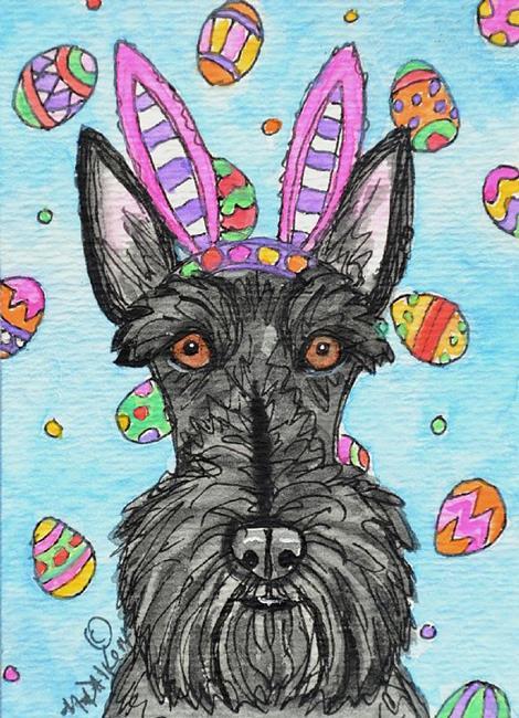 Art: Easter Scottie by Artist Melinda Dalke