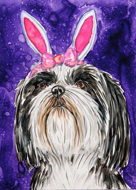 Art: Easter Shih tzu by Artist Melinda Dalke