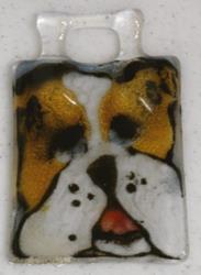 Art: Fused Glass puppy ornament by Artist Deborah Sprague