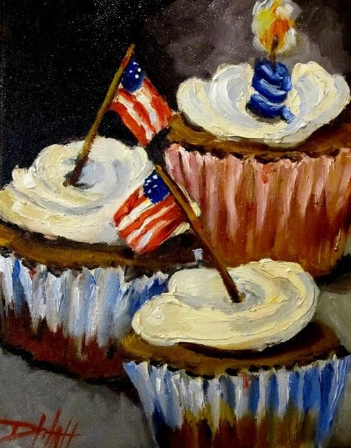 Art: Fourth of July Cupcakes No2 by Artist Delilah Smith