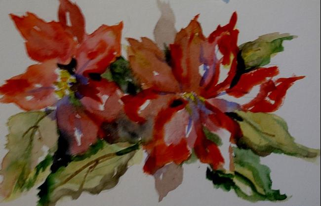 Art: Poinsettias by Artist Delilah Smith