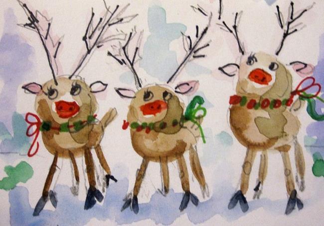 Art: Tree Reindeer by Artist Delilah Smith