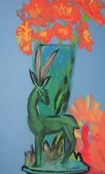 Art: Deer Vase by Artist Kim Wyatt